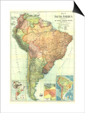1921 South America Map Poster