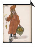Brita with Candles and Apples Print by Carl Larsson