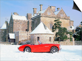 1956 Austin Healey 100M In Snow In Front Of Palace House, Beaulieu Prints