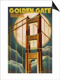 Golden Gate Bridge and Moon - San Francisco, CA Prints by  Lantern Press
