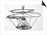 Leonardo Da Vinci Sketch of a Flying Machine Art