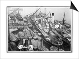Barges Cranes and Tramp Steamers at the London Docks Prints