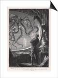 En verdensomrejse under havet: Kæmpeblæksprutte set fra den sikre Nautilus Posters af  Hildebrand