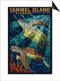 Sanibel Island, Florida - Sea Turtle Paper Mosaic Posters by  Lantern Press