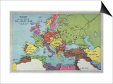 The Map of Europe on the Eve of World War One Prints