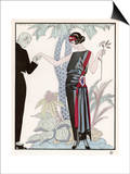 Sleeveless Slash Neck Chinese or Orientally Inspired Black Dress by Worth with Red Tassel Detail Posters par Georges Barbier