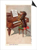 Musical Dachshund Plays a Tune on the Piano Posters
