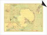 1932 Antarctic Regions Map Posters