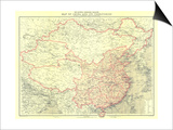 1912 China and Its Territories Map Poster