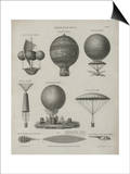 Aeronautics, Early Balloon Designs, c.1818 Poster by Joseph Clement