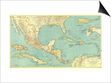 1934 Mexico, Central America and the West Indies Map Prints