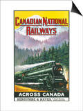 Canadian National Railways Poster Showing a Steam Engine Train in Canada Prints