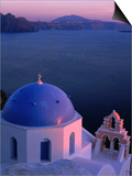 Blue-Domed Church at Sunset, Oia, Santorini Island, Southern Aegean, Greece Posters by Jan Stromme