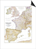 1950 Western Europe Map Poster