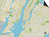 Political Map of New York City, NY Poster