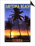 Daytona Beach, Florida - Palms and Sunset Print by  Lantern Press