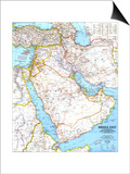 1991 Middle East Map Prints by  National Geographic Maps