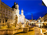 Fontana Del Moro and Church of Sant'Agnese in Agone at Piazza Navona Prints by Richard l'Anson