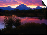 Sunset Over Snake River, Oxbow Bend, Grand Teton National Park, USA Posters by Carol Polich