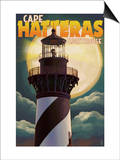 Cape Hatteras Lighthouse with Full Moon - Outer Banks, North Carolina Art by  Lantern Press