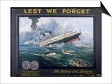 Lusitania Torpedoed by a German Submarine on Her Return Journey from New York to Liverpool Prints