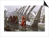 Richelieu Besieges la Rochelle Prints by Henri Motte