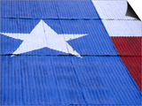 Texas Flag Painted on Barn Roof, Austin, Texas Prints by Richard Cummins