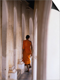 Monk Walking Away, Bangkok, Thailand Print by Peter Hendrie