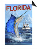 Florida - Sailfish Scene Prints by  Lantern Press