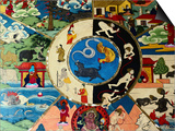 Detail of Painting at Entrance to Prayer Hall, Pemayangste Monastery, Pemayangtse, Sikkim, India Print by Richard I'Anson