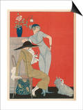 Gerda Wegener - Pet Dog, Probably a Skye Terrier, with Its Fashionable Owners Reprodukce