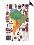 1982 Indians of South America Map Prints