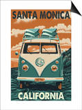 Santa Monica, California - VW Van Poster by  Lantern Press