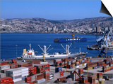 Cargo Ships in City Port, Valparaiso, Chile Posters by Brent Winebrenner