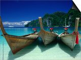 Longtail Boats at Ao Lo Dalam, Ko Phi-Phi Don, Krabi, Thailand Prints by Dallas Stribley