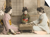 Three Japanese Geisha Girls Playing Go Prints