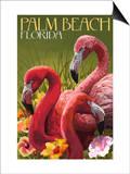 Palm Beach, Florida - Flamingos Prints by  Lantern Press