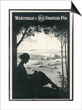 Advertisement for a Fountain Pen Featuring a Silhouette of a Woman Sitting Under a Tree Writing Print