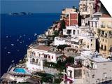 House Terraced into Amalfi Coastline, Positano, Italy Poster by Dallas Stribley