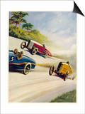 Racing Cars of 1926: Oddly One Car is Carrying Two People the Others Only One Poster by Norman Reeve