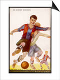 Boys Playing Football in Spanish Team Colours Prints