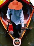 Helmsman Manoeuvres Sampan or Ferry on Sarawak River, Kuching, Sarawak, Malaysia Art by Mark Daffey