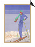 She Pauses Before Embarking on the Piste in Her Elegant Ski Costume Prints by  Zeilinger