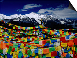 Meilixueshan (Also known as Meili Xueshan) Mountain Range and Buddhist Prayer Flags Art by Richard l'Anson