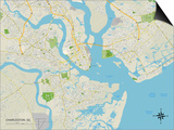 Political Map of Charleston, SC Prints