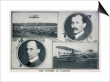 Portraits of Wilbur (Left) and Orville (Right) Wright and Pictures of Their Planes Print