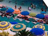 Overhead of Umbrellas at Private Bathing Area of Marine Piccola Beach, Capri, Italy Prints by Dallas Stribley