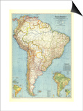 1942 South America Map Prints by  National Geographic Maps