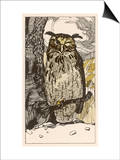 Winking Owl Perched on a Branch, by the Look of It It's an Eagle Owl Prints by A Weisgerber