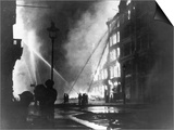 Firemen Using Hoses on the Inferno at Eastcheap London Ec at the Height of the Blitz Prints